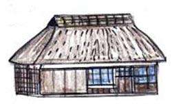 茅葺屋根の住居
